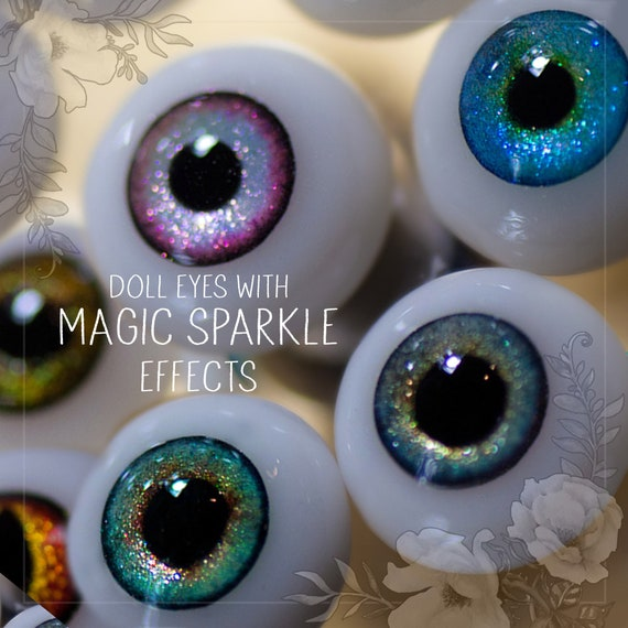 BJD doll pair of EYEs with MAGIC sparkle effects different size 8mm, 10mm, 12mm, 14mm, 16mm, 18mm, 20mm. For bjd and art dolls. Custom order