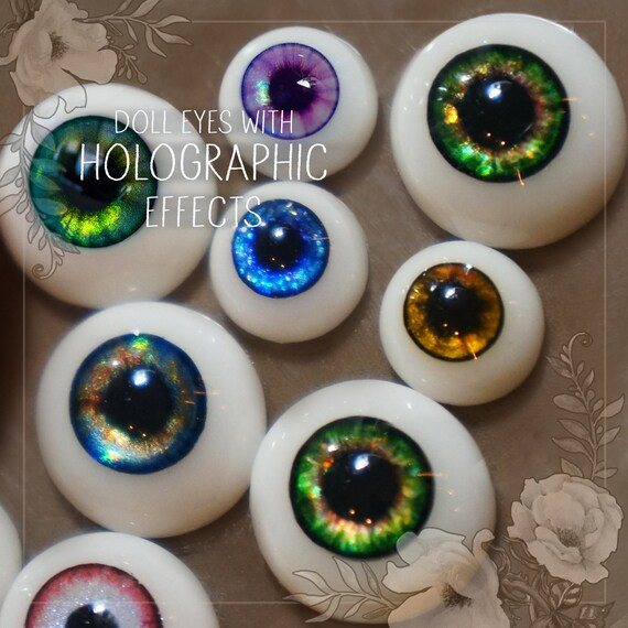 BJD doll pair of EYEs with HOLOGRAPHIC effects different size of sclera 8mm, 10mm, 12mm, 14mm, 16mm, 18mm, 20mm. For bjd and art dolls