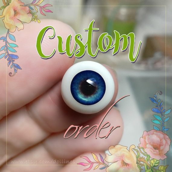 Blue doll EYES 6mm, 8mm, 10mm, 12mm, 14mm for BJD dolls, dolls of polymer clay, airdryclay, babydoll, toys, jewerlys, etc. For CUSTOM order