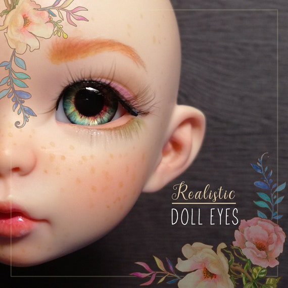 Realistic GREEN resin doll pair of EYEs 14/8mm for BJD dolls,babydoll, reborn,toys, etc. Ready to ship