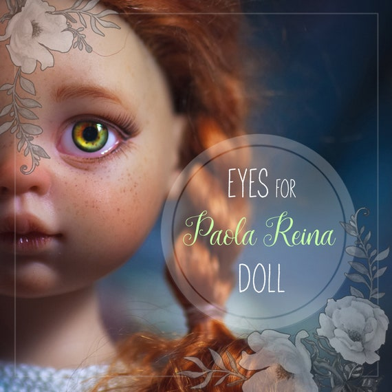 Pair of EYEs  for Paola Reina dolls. Round or oval shape sclera form. Centered or skew iris for autentic lively look. For Custom order