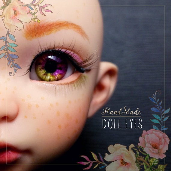 Purple Lime real inner volume pair of EYEs 12/6.5mm for BJD dolls, single copy. In stock, ready to ship