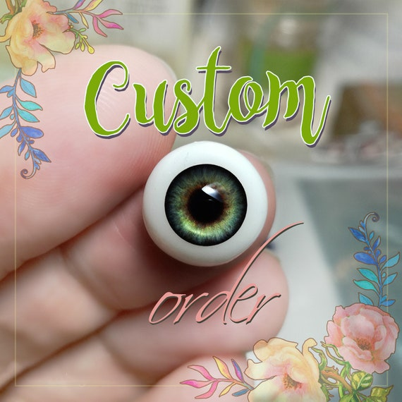 Realistic GREEN doll pair of EYEs 6mm, 8mm, 10mm, 12mm, 14mm for BJD dolls, dolls of polymer clay,babydoll, reborn,toys, etc. Custom order