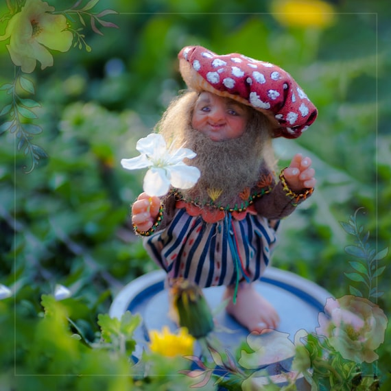 Magic OOAK handmade doll mushroom grandfather gnome. Unicue doll for collection with a glass cloth. Polymer clay doll. In stock. FREE SHIP!