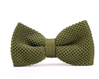 Olive Green Army Green Cotton Brown Faux Leather Pretied Bow tie Bowtie for Men Adult  Youth Teenage  Boy Kids  Toddler Baby Infant