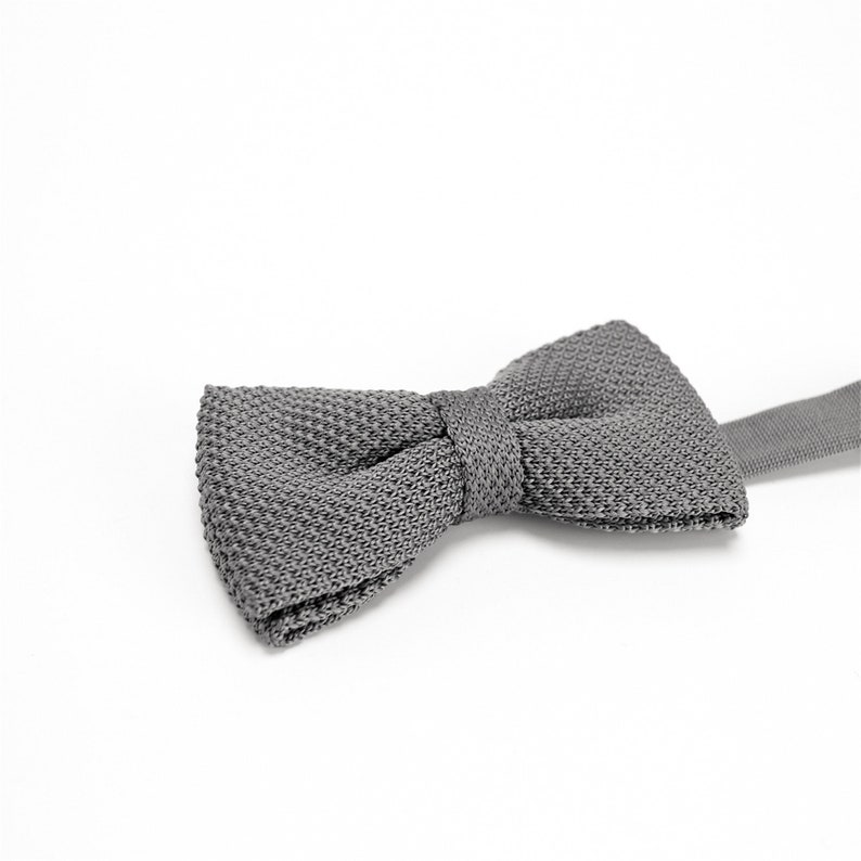 Gray Knitted BowTie,Solid Gray Bowtie,Mens Bow Tie,Mens Knitted Bow Tie,Wedding Bow Tie,Groom BowTie,Bow Tie for Groomsmen,Party BowTie