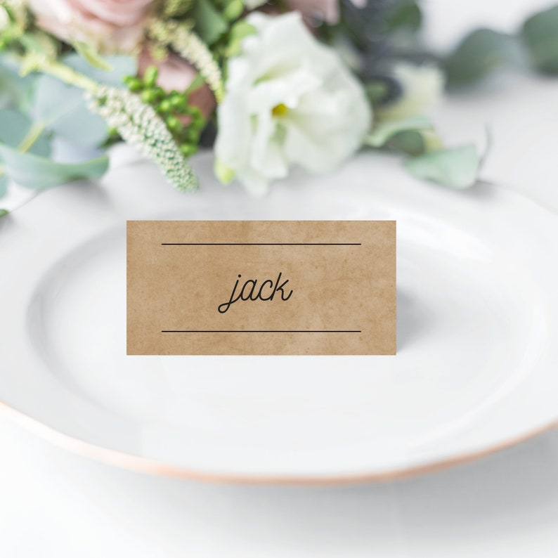 Southbank Personalised Kraft Modern Typography Wedding Folded Place Cards