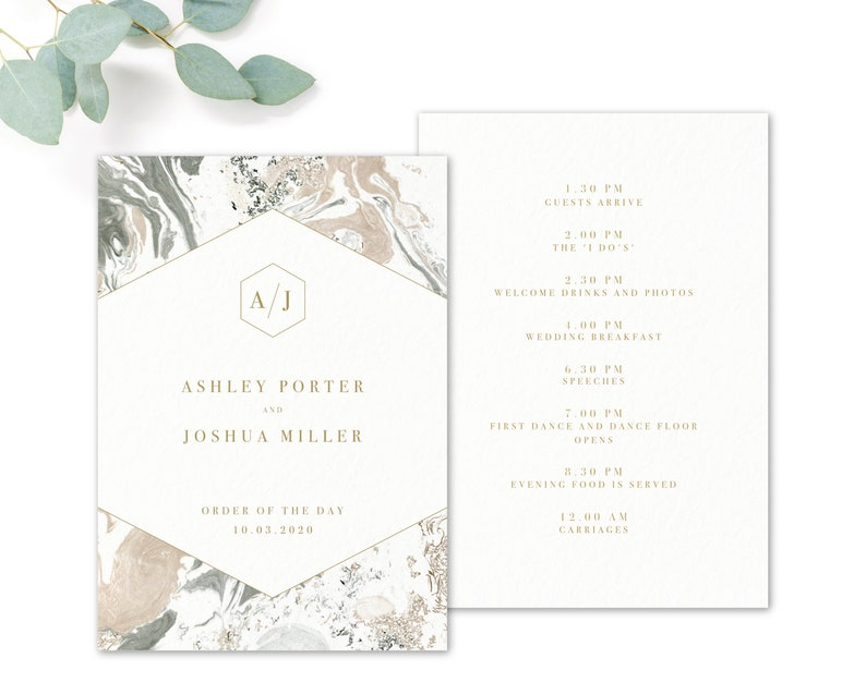 White /& Gold Marble Modern Wedding Order of Service or Order of the Day Cards and Booklets Marble Personalised Grey