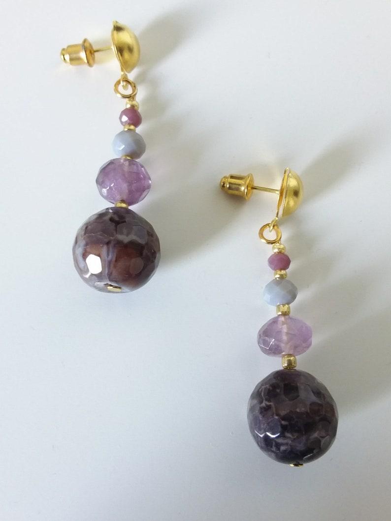amethyst lilac Hard stone earrings agate handcrafted gift idea for women gray earrings purple
