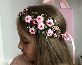 Cherry Blossom Crown for girls. First Communion Crown. Elegant sakura headpiece