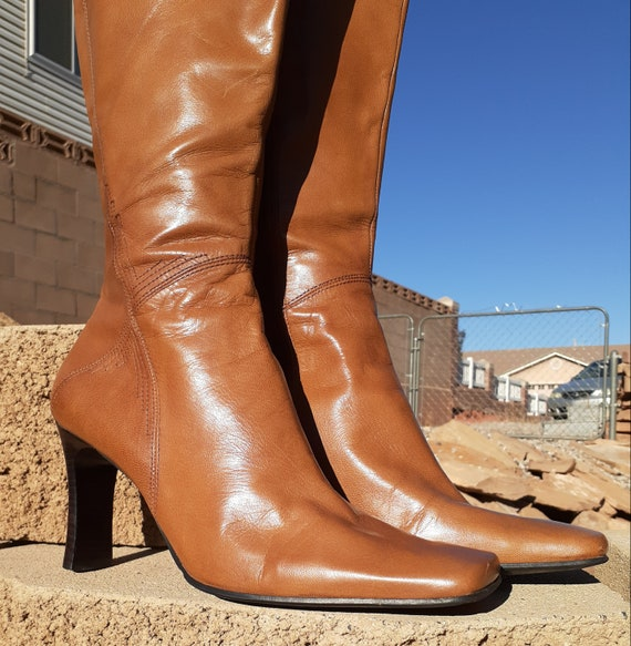 Tan Leather Square Toe Boots in Tan - Y2K