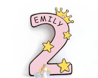 Princess name sign Little girl 2nd Birthday decorations centerpiece cutouts