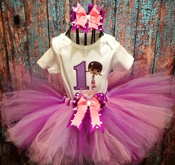 Doc Mcstuffins Animal Dr Baby Girl 1st First Birthday Tutu Outfit Shirt Set