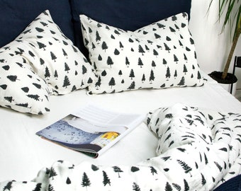 PINE TREE PILLOWCASE. Unique Christmas Tree Print with Pines & Spruces. Standard, Queen, King, Body, Euro sham and Custom size Pillow Cover