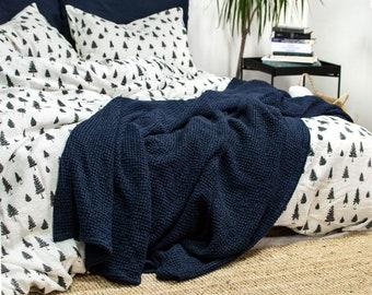 Indian Cotton Kantha Quilt Navy Blue Ethnic Designer Reversible Gudari Handmade Adult Quilt Exclusive Bedding Set