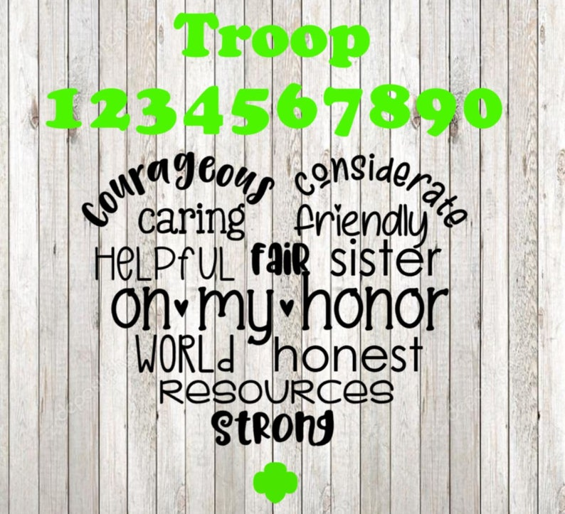 Girl Scout Troop Heart//Girl Scout Law SVG Cut file//traceable file  included// CUT FILE