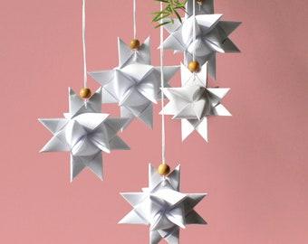 Handmade paper stars according to fröbel, mobile, decoration - white