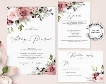 Wedding Menu  Elegant Blush Floral Invitation Suite  #1136