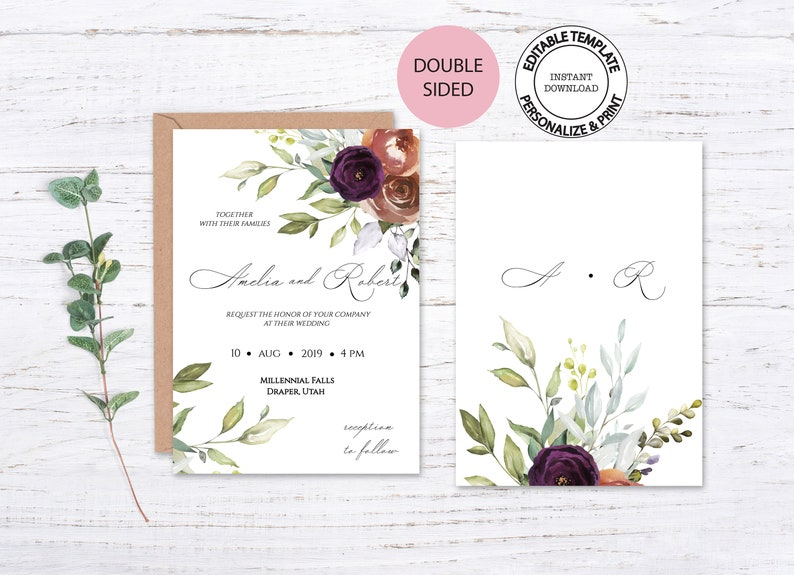 Fall floral wedding invitation W72 Watercolour greenery and roses invitation set Autumn floral invitation Editable template