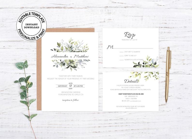 Editable foliage wedding invite W50 RSVP and Details card Greenery wedding invitation template set printable boho wedding invitation