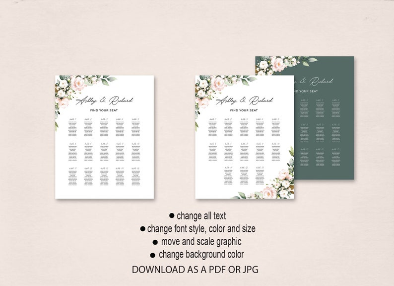 Botanical Wedding Seating Chart Sign Orange Blossom Wedding Seating Chart Download DIY Seating Chart Poster Guest Seating Chart Board