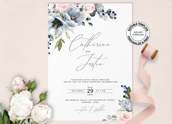 Pink Floral Wedding Invitations Downloadable Blush Rose Garden Wedding Invitations Printed Pink Rose Wedding Invitation Collection