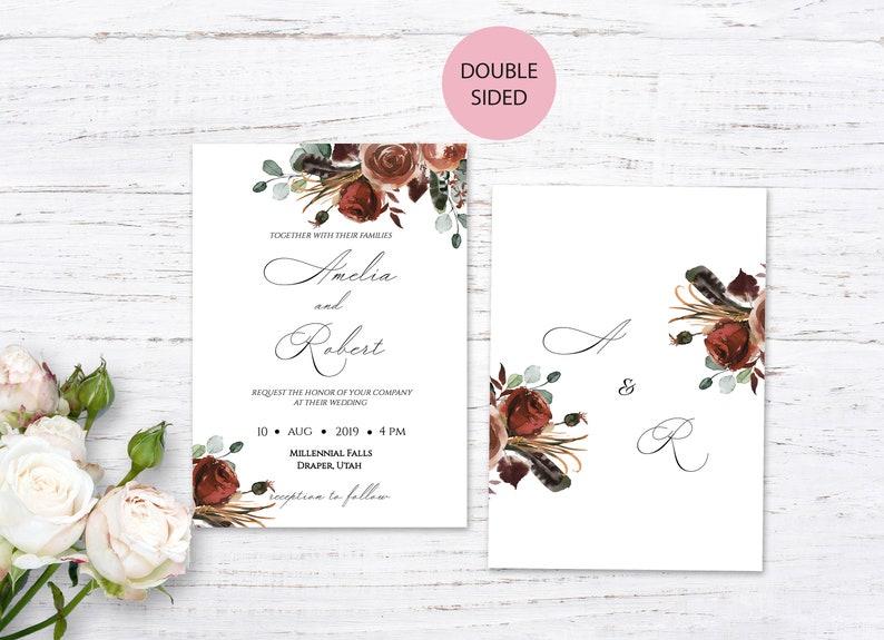 RSVP and Details card Burnt orange floral wedding invitation Autumn flowers editable invite W151 Fall wedding invite template suite