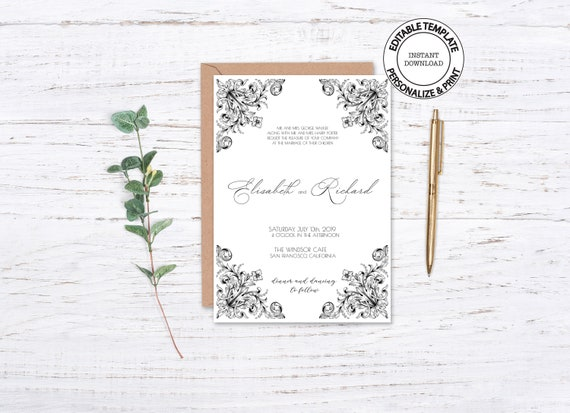 Victorian Style Wedding Invitation Template Editable Vintage Etsy
