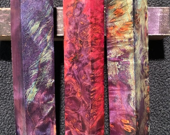 Beautiful figure Lot of 5 blanks Premium Stabilized Maple Burl Pen Blanks MUST SEE PICS These will make nice pens!!