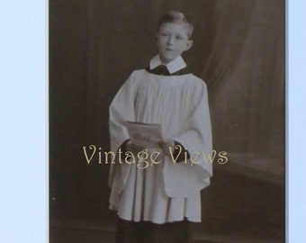 c1940s Vintage Real Photo Studio Postcard YOUNG CHOIRBOY Social History
