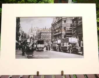 circa 1915 London Photographic reproduction sepia print mounted and ready to frame. Tottenham Court Road