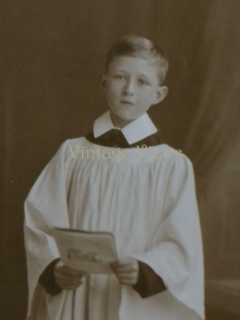 Mounted and ready to frame. original real photo vintage postcard circa 1920s Choirboy in surplice and Eton collar