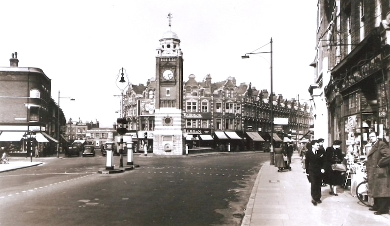 London circa 1940s mounted and ready to frame. Photographic reproduction sepia print Crouch End Broadway and Clock Tower