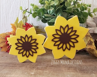 Wooden Sunflower   Fall Tiered Tray   Sunflowers   Autumn Decor   3D Wood Decor   Fall Decor   Sunflower Shelf Sitters