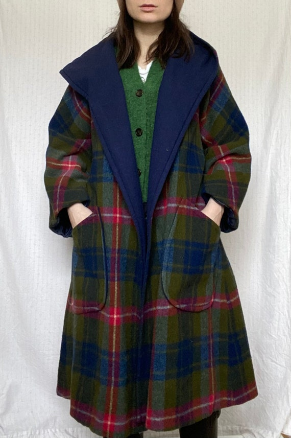 1950s coat, checkered plaid colorful vintage hoodi