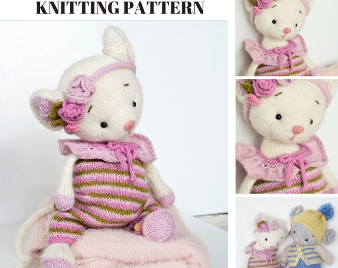 Toy clothes knitting pattern for a mouse - Outfit Little Charming Mouse