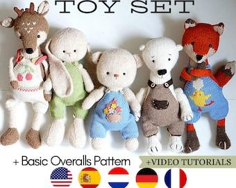 Toy knitting patterns Bunny Fox Reindeer Teddy Bear Wolf Polar Bear + OVERALLS