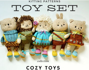 5 in 1 SET Toy Knitting Patterns Package! Lovely Cozy Collection Bunny Teddy Kitty Lamb Lion Toys