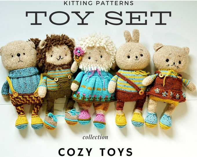 Bunny Teddy Kitty Lamb Lion Toys 5 in 1 SET Knitting Patterns Package! - Toy Knitting Patterns