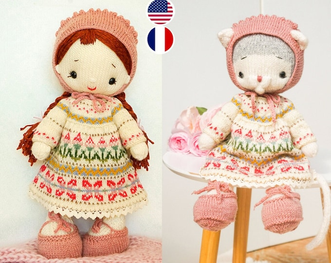 """knitting pattern for doll clothes / Knitting patterns PDF - Outfit """"Summer"""" - Toy Clothes Knitting Pattern"""