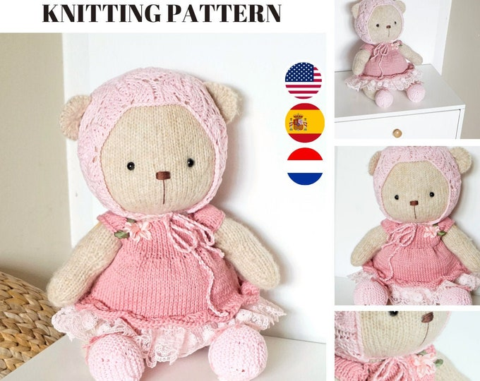 Doll clothes knitting pattern for a bear - Shabby Chic Style Outfit for Teddy Bear - Toy Clothes Knitting Pattern