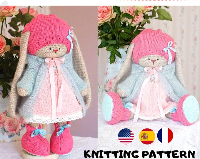 doll clothes knitting pattern for a bunny / lamb - Basic Outfit - Toy Clothes Knitting Pattern