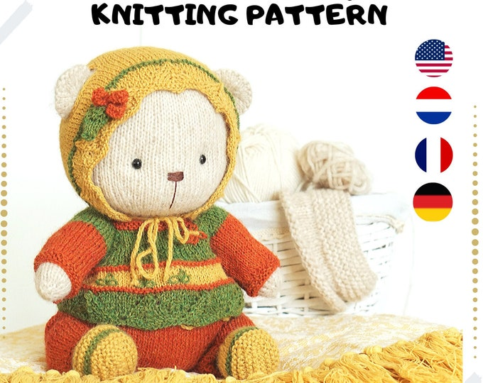 """Doll Clothes knitting pattern for bear clothes - Outfit """"Cozy Teddy"""" - Toy Clothes Knitting Pattern"""