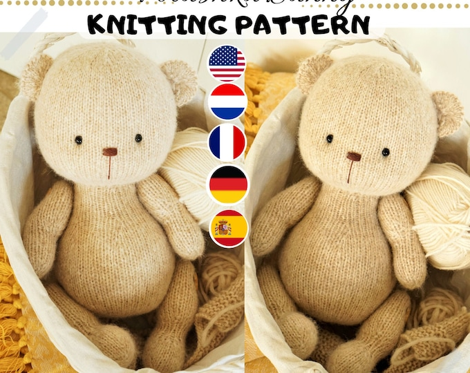 Toy Knitting Pattern for a bear (15 inches tall) / 2 needles version