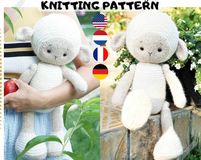 Toy knitting pattern for a lamb (15 inches tall)