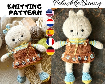 Toy knitting pattern for a kitty with a clothes (10 inches tall)