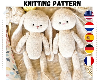 Toy knitting pattern for bunny (15 inches tall)