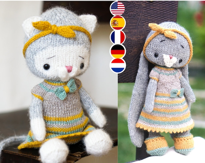 Toy Clothes Knitting Pattern for a little kitty (for 10 inches tall toys)
