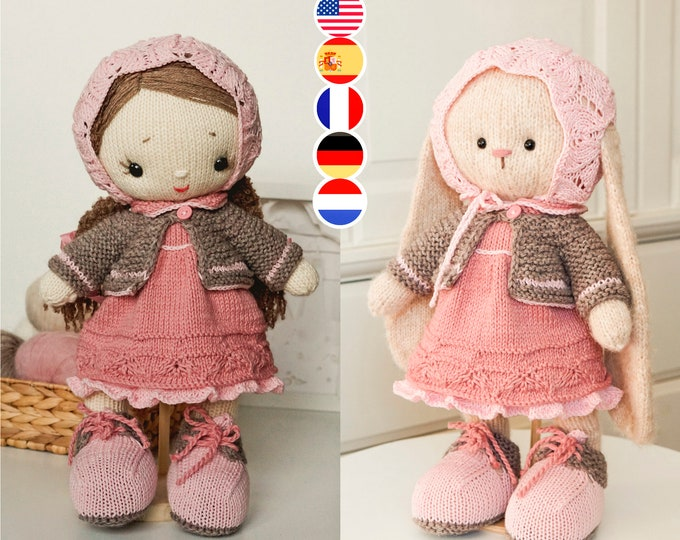 Toy clothes knitting pattern for a doll / bunny / lamb/ puppy / kitty / Shabby Chic Style Outfit