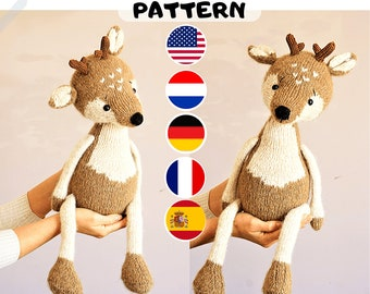 Toy knitting pattern for reindeer